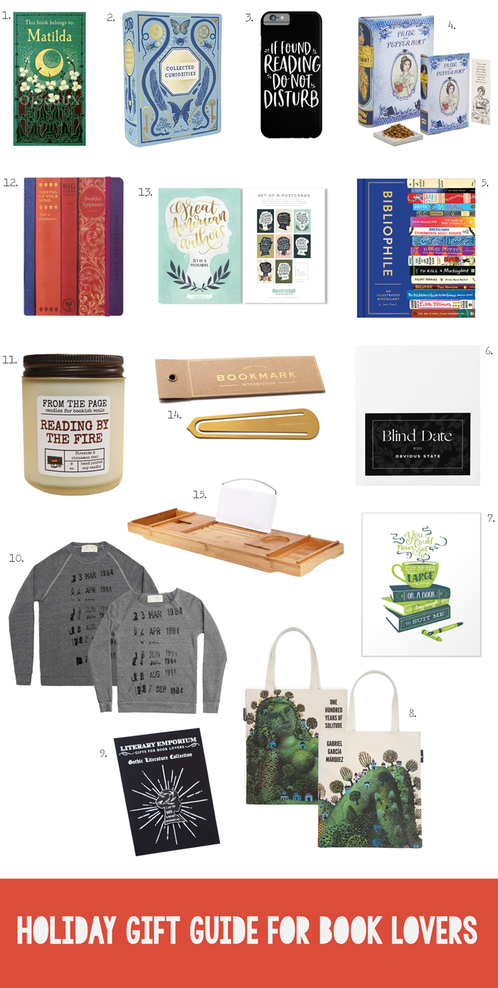 Christmas shopping guide for gifts for readers, bibliophiles, academics, bookish, books, accessories, candles