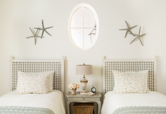 French Country faramhouse style interior design in a bedroom with gingham - found on Hello Lovely Studio
