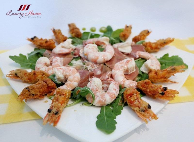 tasty arugula salad parma ham wasabi prawns recipe