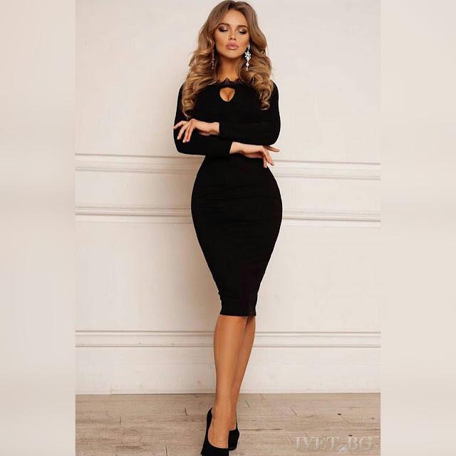 Εντυπωσιακό μίντι μαύρο φόρεμα ASHLEY