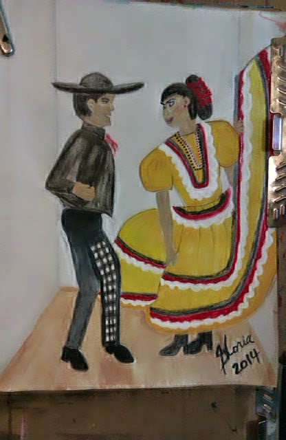 """Mariachi dancers"" sketch by Gloria Poole; yr 2014"