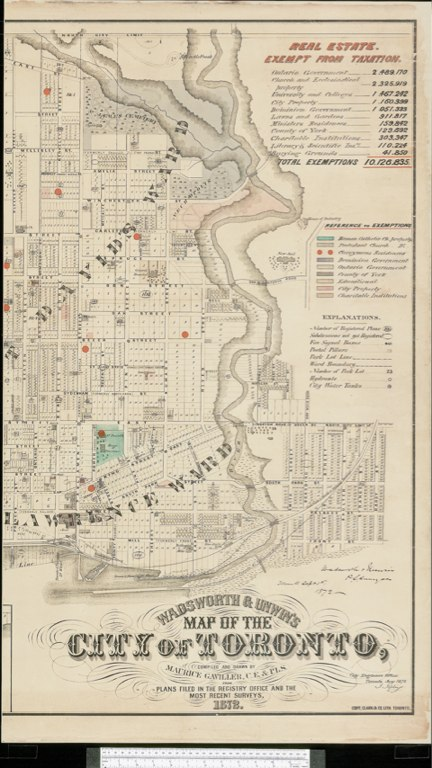 1872 Wadsworth & Unwin Map of the City of Toronto showing Tax Exemptions - E