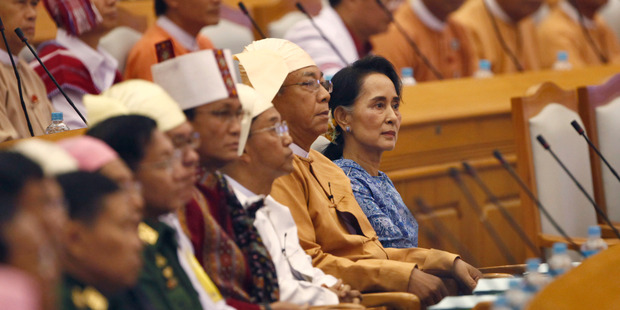 Emotional scenes on historic day for Burma