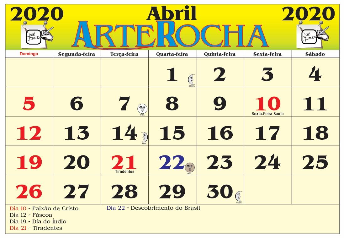 ARTEROCHA: CALENDÁRIO MÊS DE ABRIL 2020