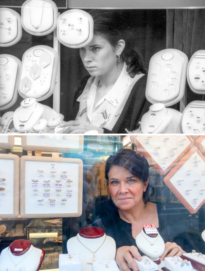 Photographer Recaptures Old Pictures Creating A Beautiful Reunion Of People He Photographed Decades Ago - Jewellery Assistant (1990 And 2015)