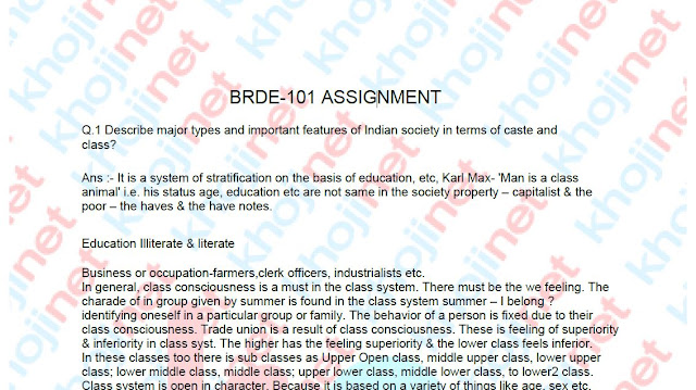 BRDE-101 and ERD Solved Assignment For IGNOU BDP 2018