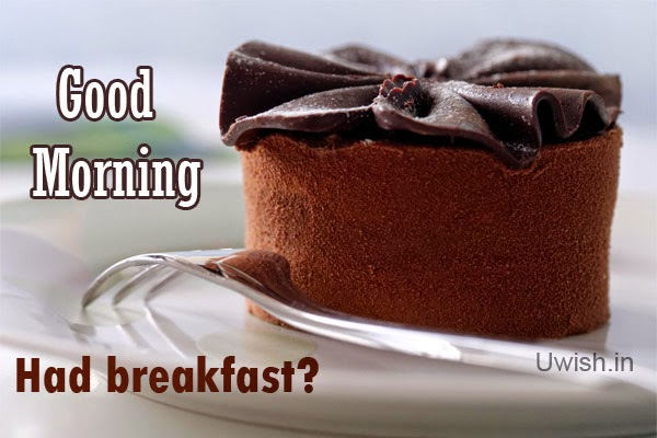 Good Morning  e greeting cards and wishes, quotes with  chocolate cake.