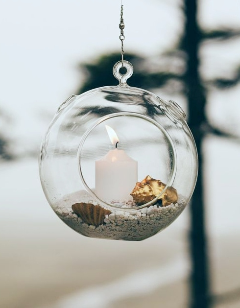 Hanging Glass Globe Candle Holder Idea