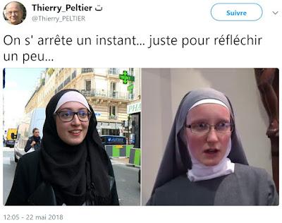 """Voile """"islamique""""/voile des nonnes et croix, une fausse comparaison religieuse pour dissimuler un vrai racisme sexuel"""