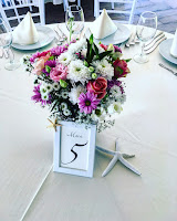 wedding arrangement for the guest's tables in pink #flowers