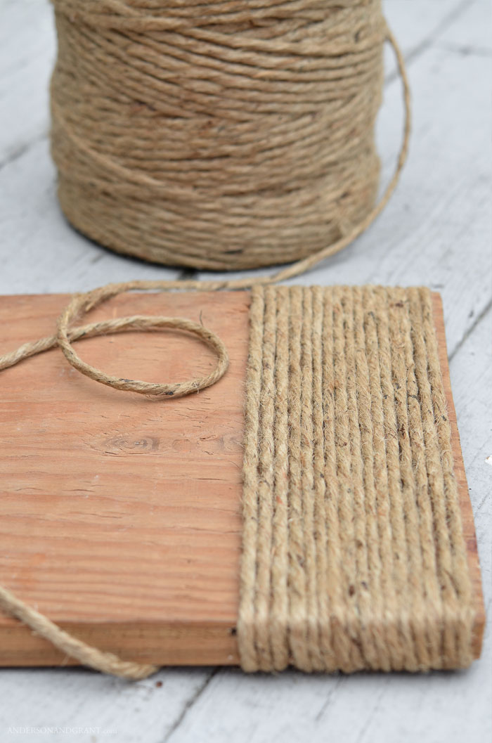 Board wrapped with jute twine
