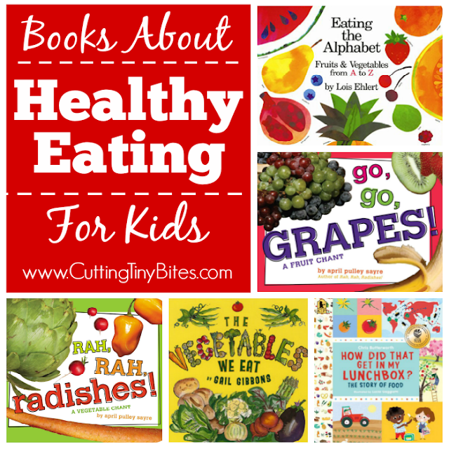 Books about healthy eating for kids. These books feature bright and colorful fruits and vegetables. They may be just the thing to encourage your toddler, preschooler, or kindergartner to try something new for dinner tonight!