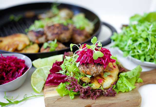 Paleo Mini Burgers with Caramelised Balsamic Onions