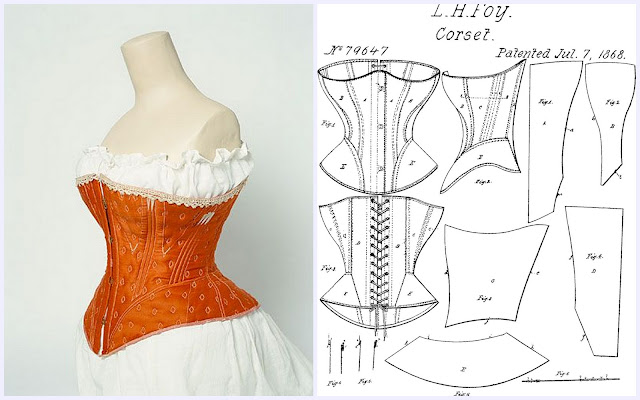 left: 1860-1870 corset / right: LH Foy corset pattern of similar design to the extant stays