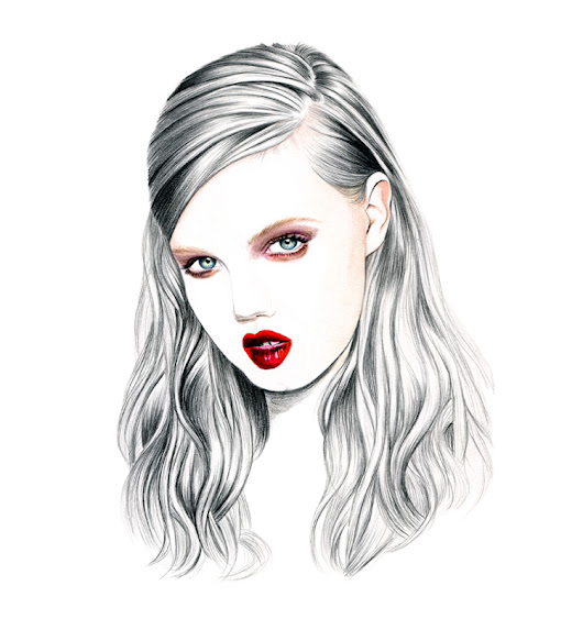 Illustration by Lidia Luna: Lindsey Wixson Nina Ricci FW12 Beauty Look
