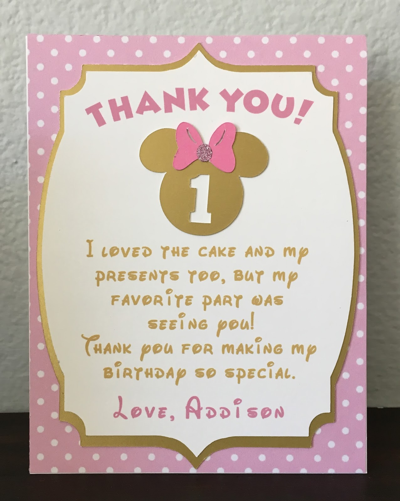scrap-ali ever after: Disney Minnie Mouse pink + gold Birthday Thank ...