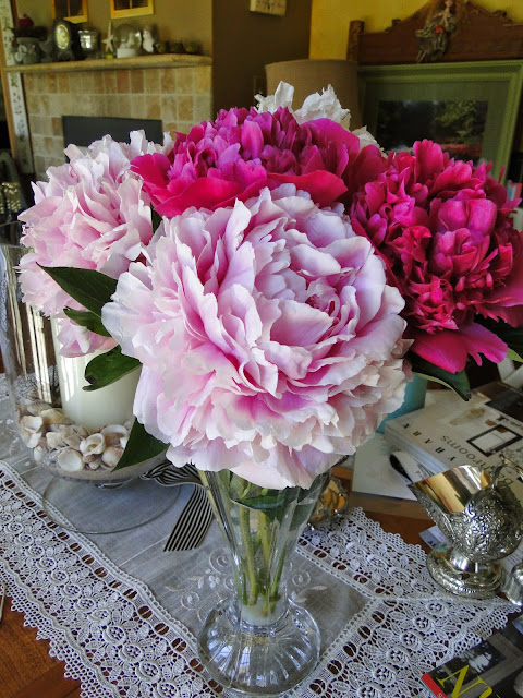 2 types of pink Garden peonies in vase from gardens at The Camellia
