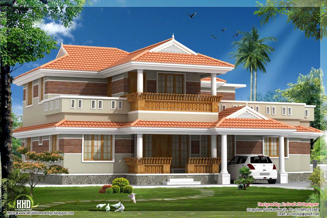 Traditional looking kerala style house in 2320 for Kerala model house photos with details