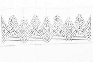 5 simple pattern pencil sketch on tracing paper for hand emroidery saree border design.saree border design drawing for hand emroidery