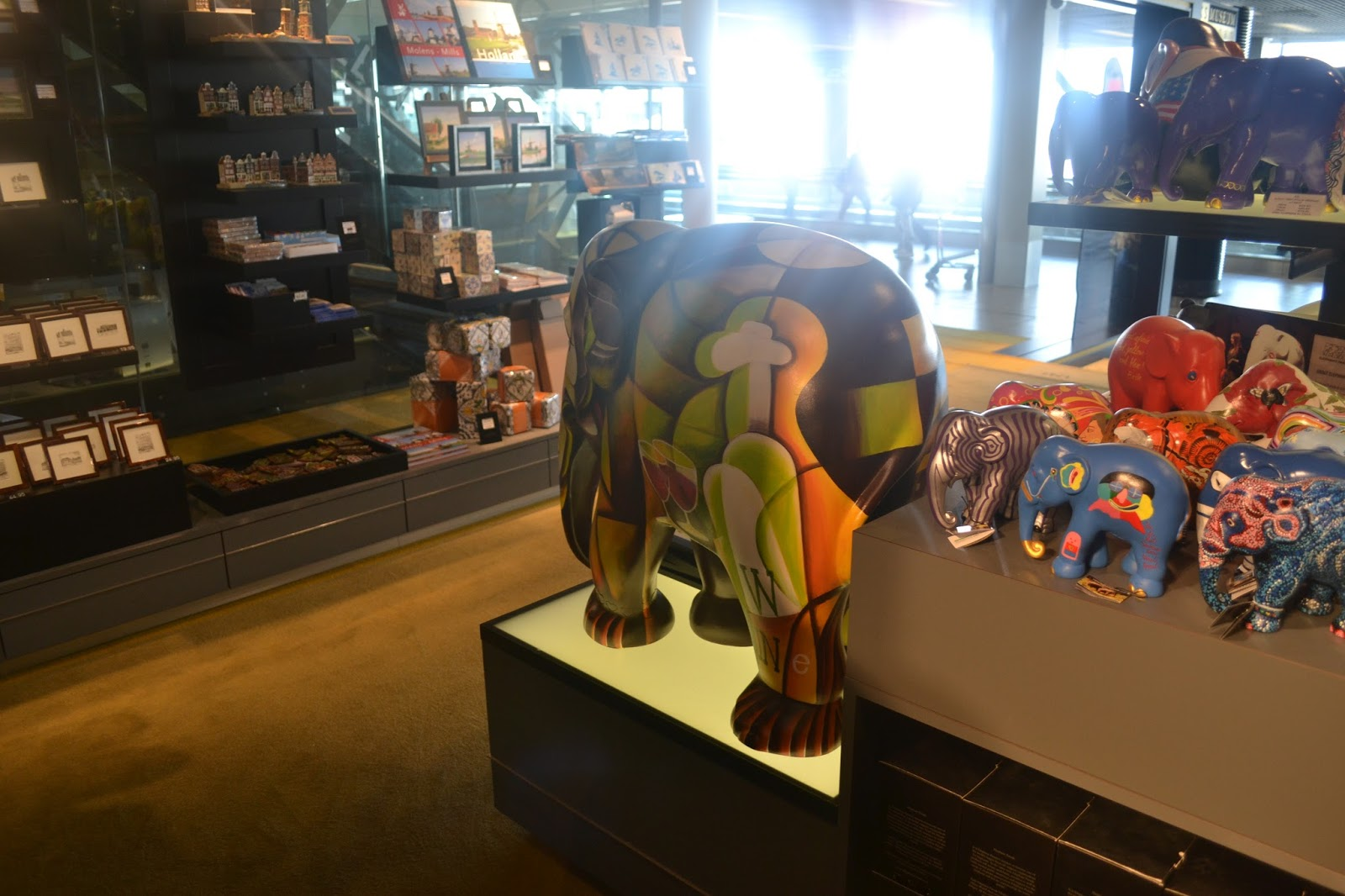 Wooden elephants at Amsterdam Schipol Airport