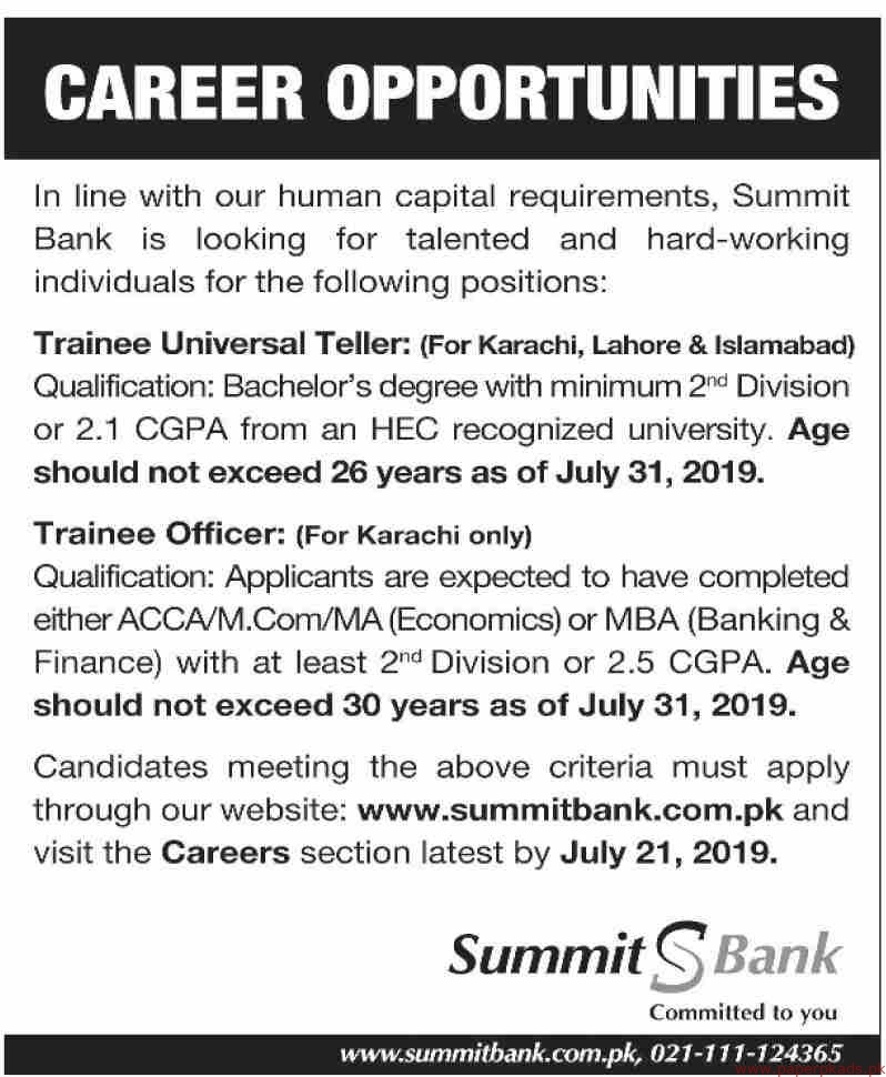 Summit Bank Jobs 2019 Latest Online Apply