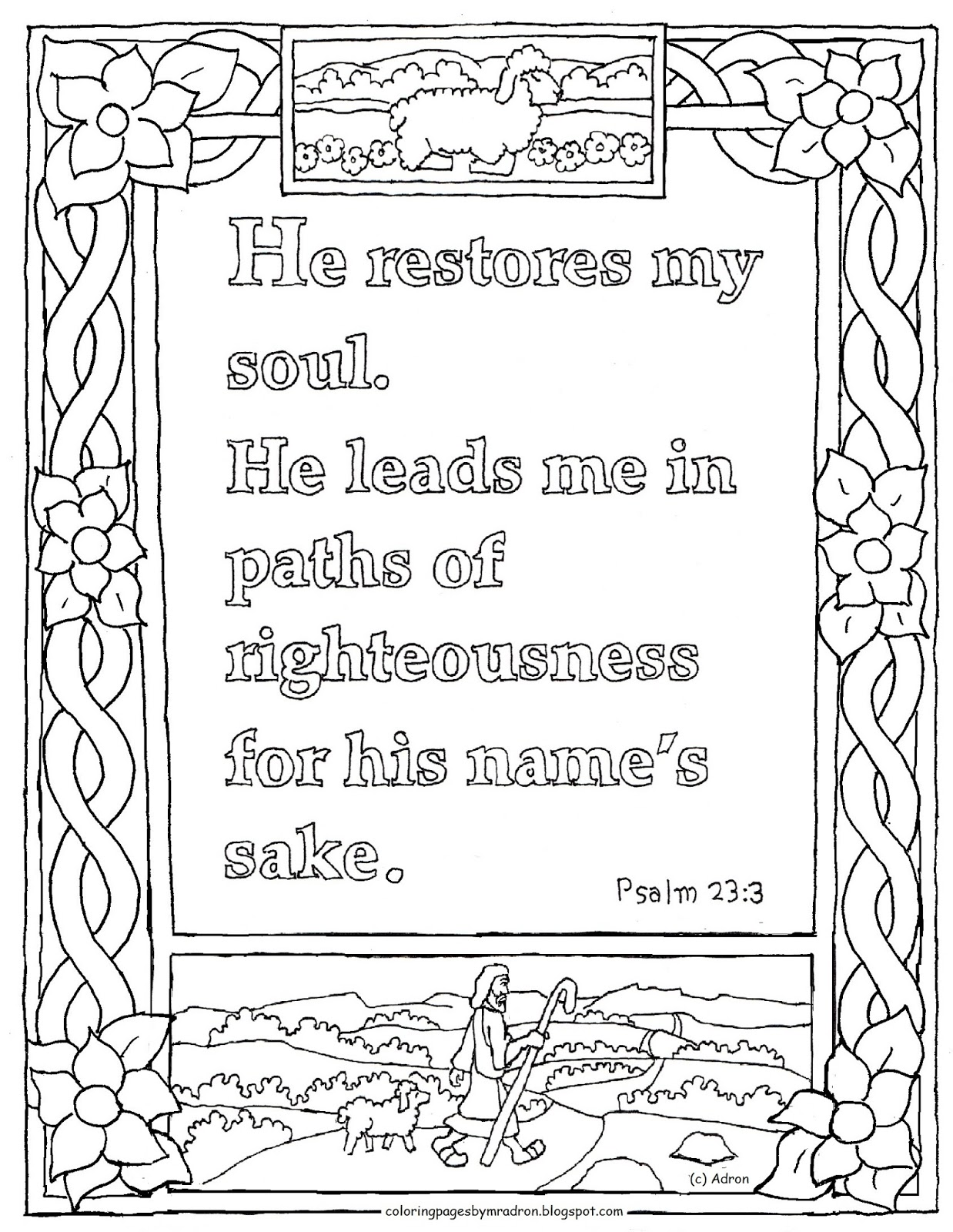 psalms 23 printable coloring pages - photo#6
