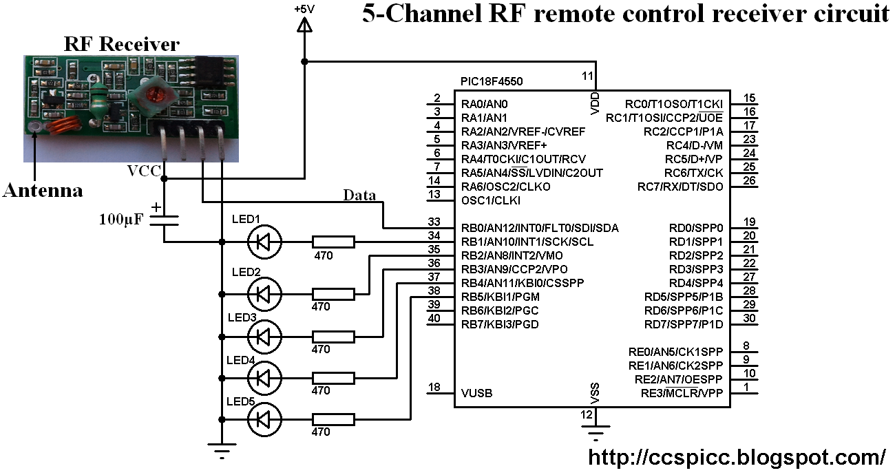 Pic16f628a Rf Transmitter Schematic Introduction To Electrical 433mhz Circuit Remote Control System Based On Pic Microcontroller 1010 Micro