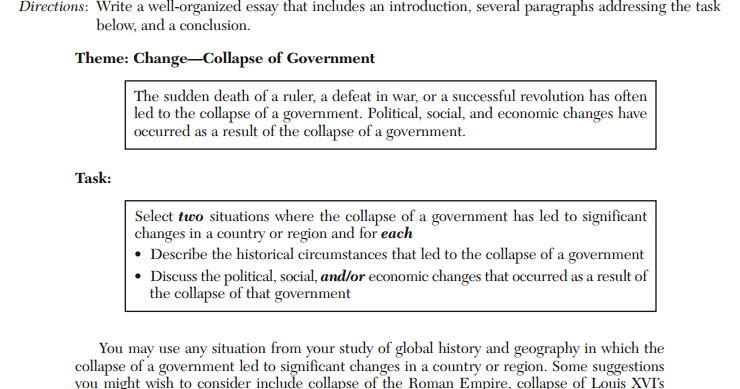 Global regents thematic essay help