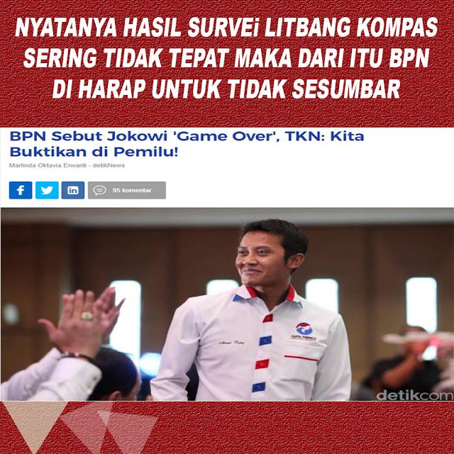 BPN Sebut Jokowi 'Game Over' TKN: Kita Buktikan di Pemilu!