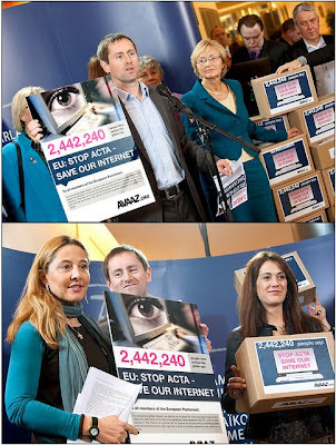 Parliament received 2.4 million petition signatures against ACTA!