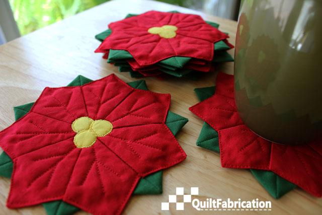 Poinsettia flower coasters