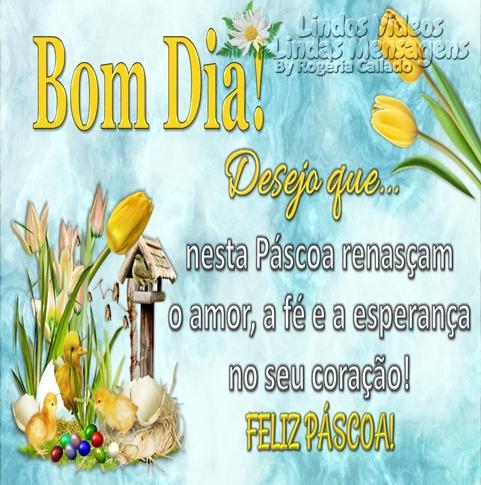 Bom Dia! Desejo que...  nesta Páscoa renasçam  o amor, a fé e a esperança  no seu coração!  FELIZ PÁSCOA!