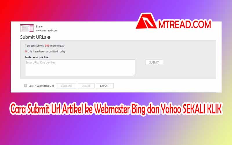 cara submit url artikel ke webmaster bing dan yahoo