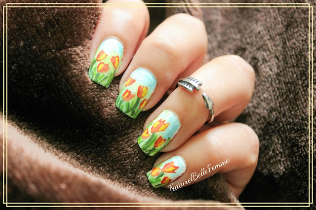 Tulip floral nails