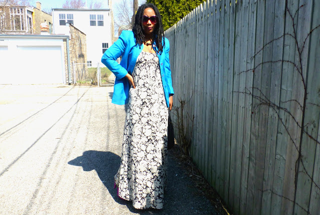 spring outfit maxi dress with blazer