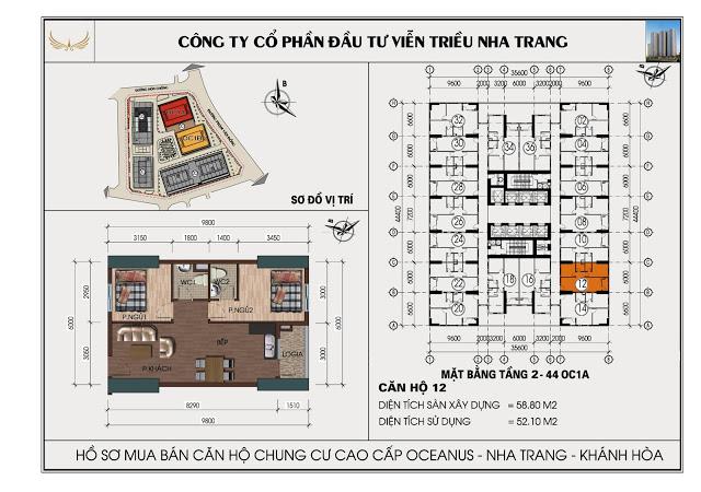 Sơ đồ căn hộ số 12 tòa OC1A Viễn Triều Nha Trang