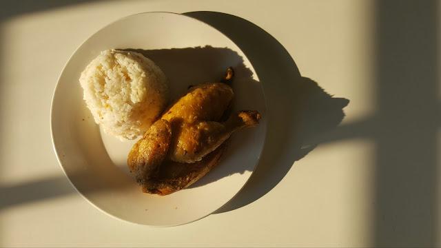 deep fried chicken with garlic rice
