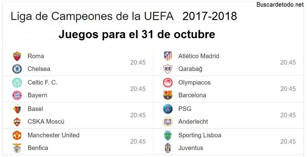 7- Calendario de juegos de la Champions League 2017-2018. Juegos de la Champions League el 31 de octubre 2017