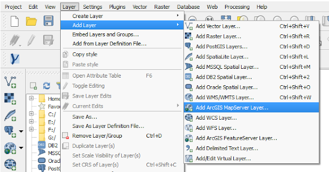Add ArcGIS Map Server Layer tool in QGIS