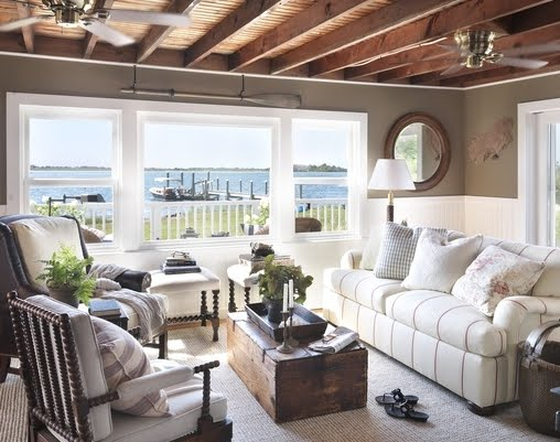 cozy nautical cottage with brown walls