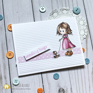 sending hugs card with a girl and a bear by kindacutebypatricia