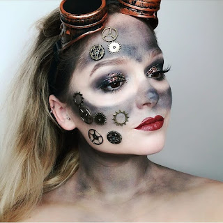 steampunk makeup how to DIY make dirty goggle marks and how to glue gears to your face