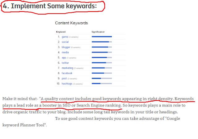 using SEO keywords