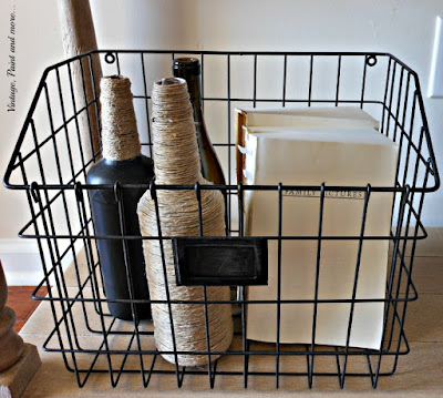 Vintage, Paint and more... wire basket with painted and twine wrapped bottles