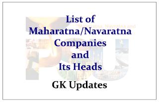 List of Maharatna/ Navaratna Companies in India and Its Heads- GK Updates