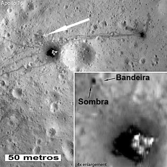 Bandeiras na Lua Lunar Reconnaissance Orbiter (LRO)
