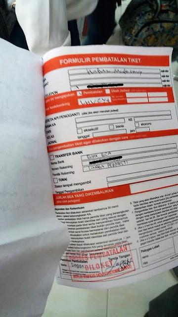 pembatalan tiket kereta dengan surat kuasa