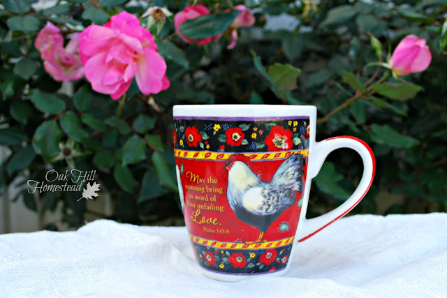 Coffee mug with Scripture and chickens