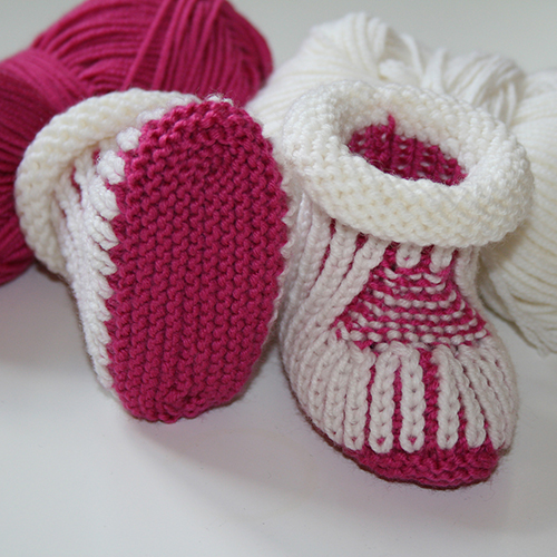 Pink and White Baby booties free Knitting Pattern