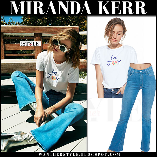 Miranda Kerr in white t-shirt and flared jeans Miranda x Mother capsule collection what she wore